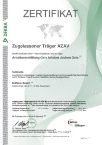 Zertifikat Arbeitsvermittlung Geis